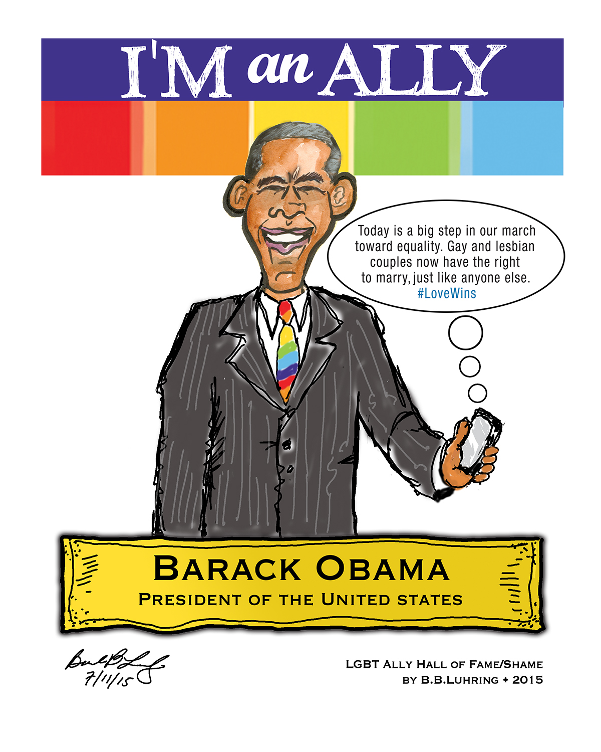 President Barack Obama Tweeted out his own celebratory message on the issue of Marriage Equality and it was as elegant as we would expect from him!  Cartoon by Geez! I'm Angry