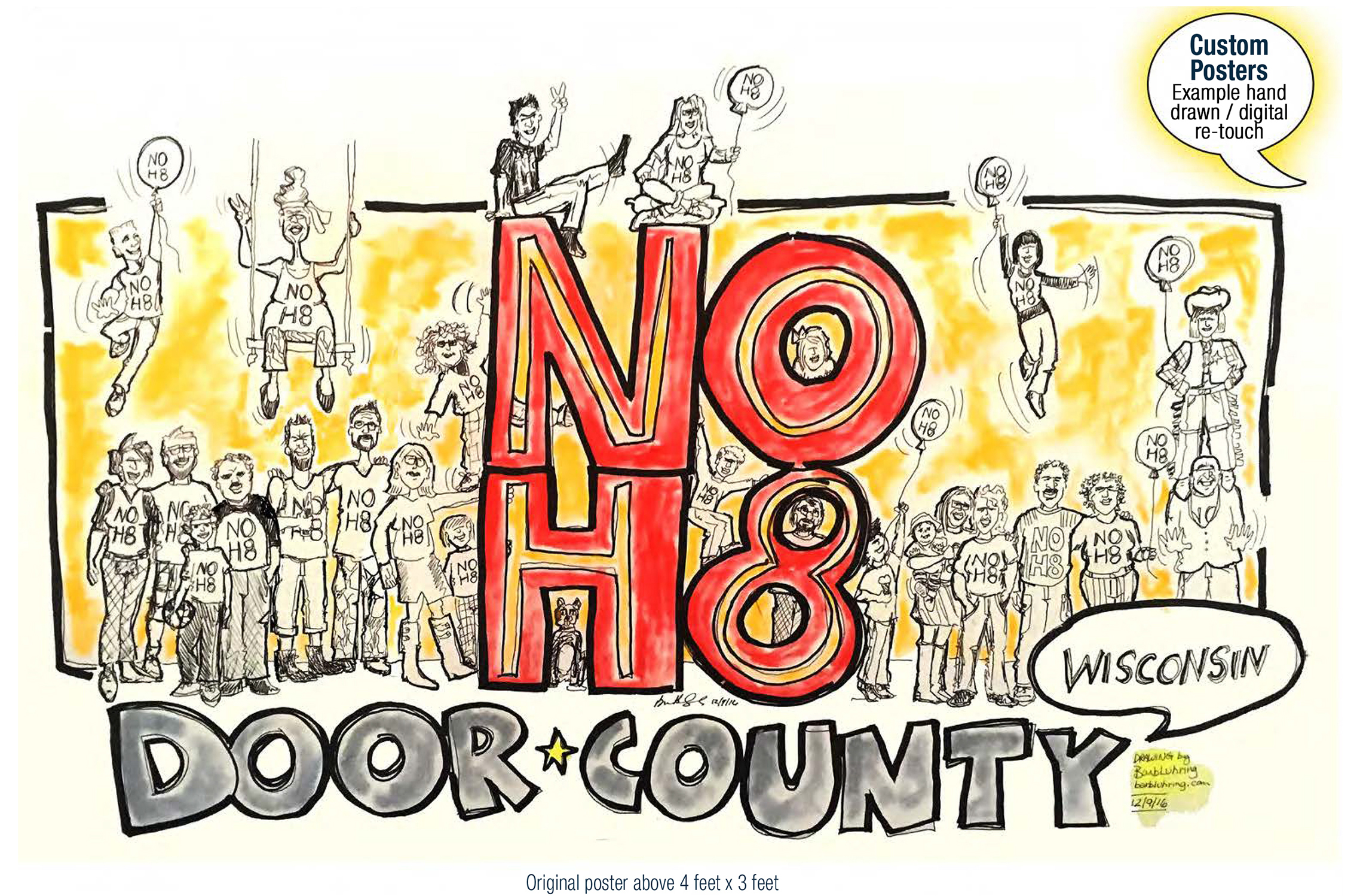 Following the 2016 election, the community of Door County, Wisconsin came together to reject hate and embrace diversity. Cartoon by Geez! I'm Angry