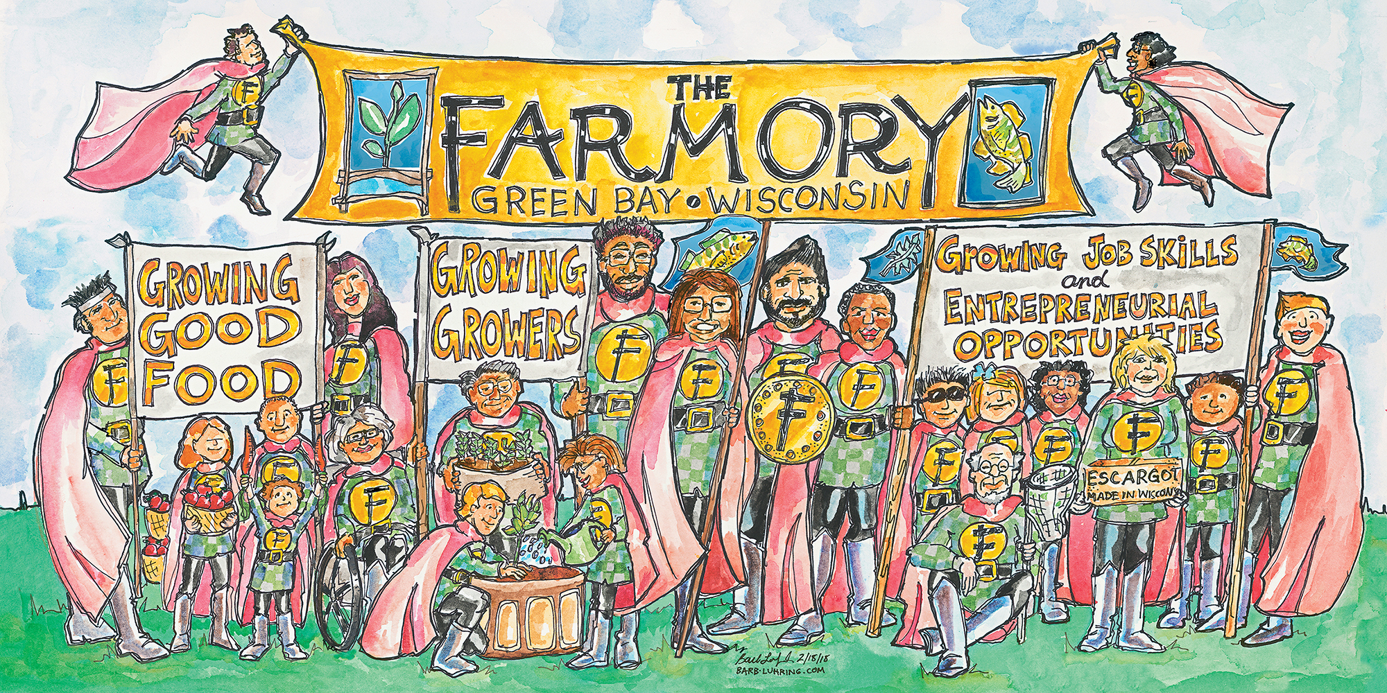 The Farmory 3ft. x 6 ft. print from watercolor illustration