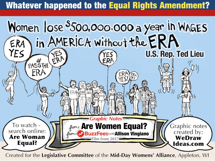 Women lose $500,000,000 a year in wages in America without the ERA. The words of US Rep. Ted Lieu.  Cartoon by Geez! I'm Angry